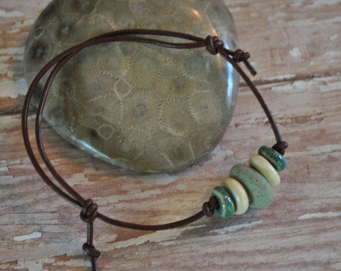 Frankfort Green Stone Bracelet on leather,  Up North, bracelet, Michigan, Unisex