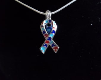 Autism Puzzle Ribbon Sterling Silver Cage Pendant