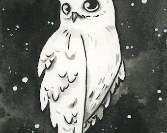 Inktober - Original ink ACEO - Shy owl