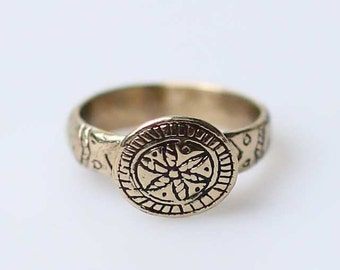 Ethnic ukrainian brass ring