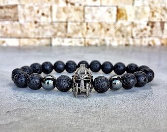 Mens Spartan Bracelet, Helmet Bracelet, Hematite Bracelet, Bracelet For Men, Gladiator Bracelet, Knight Bracelet, Warrior Bracelet, GOT