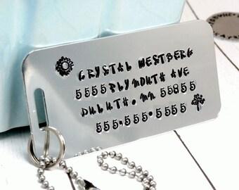 Luggage ID - Luggage ID Tag - Suitcase ID - Luggage Identifier - Suitcase id Tag -Luggage Accessory - Personalized - Handstamped - Handmade
