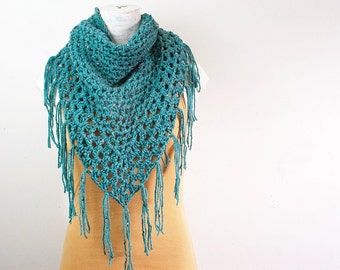 Crochet Teal Boho Fringe Granny Shawl Triangle Scarf Autumn Fall Accessories Boho Chic Lightweight Lacy Wrap