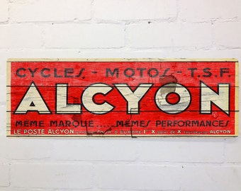 Vintage Cycling Red Alcyon Cycles Tour de France Wall Door Sign