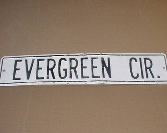 "1970's White Washed Tin Street Sign Evergreen Cir. Chippy Shabby 30"" x 6"" Road Travel Sign"