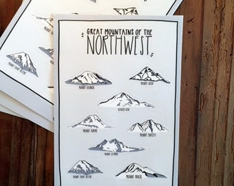 Great Mountains of the Northwest Sticker Sheet - Vinyl Stickers