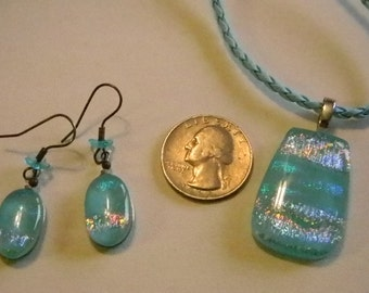 Blue Iridescent Square Pendant Necklace Matching Pierced Earrings Set