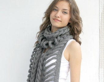 Gray Wool  Scarf with Black  Button Mothers Day gift  UNDER 75USD For Her