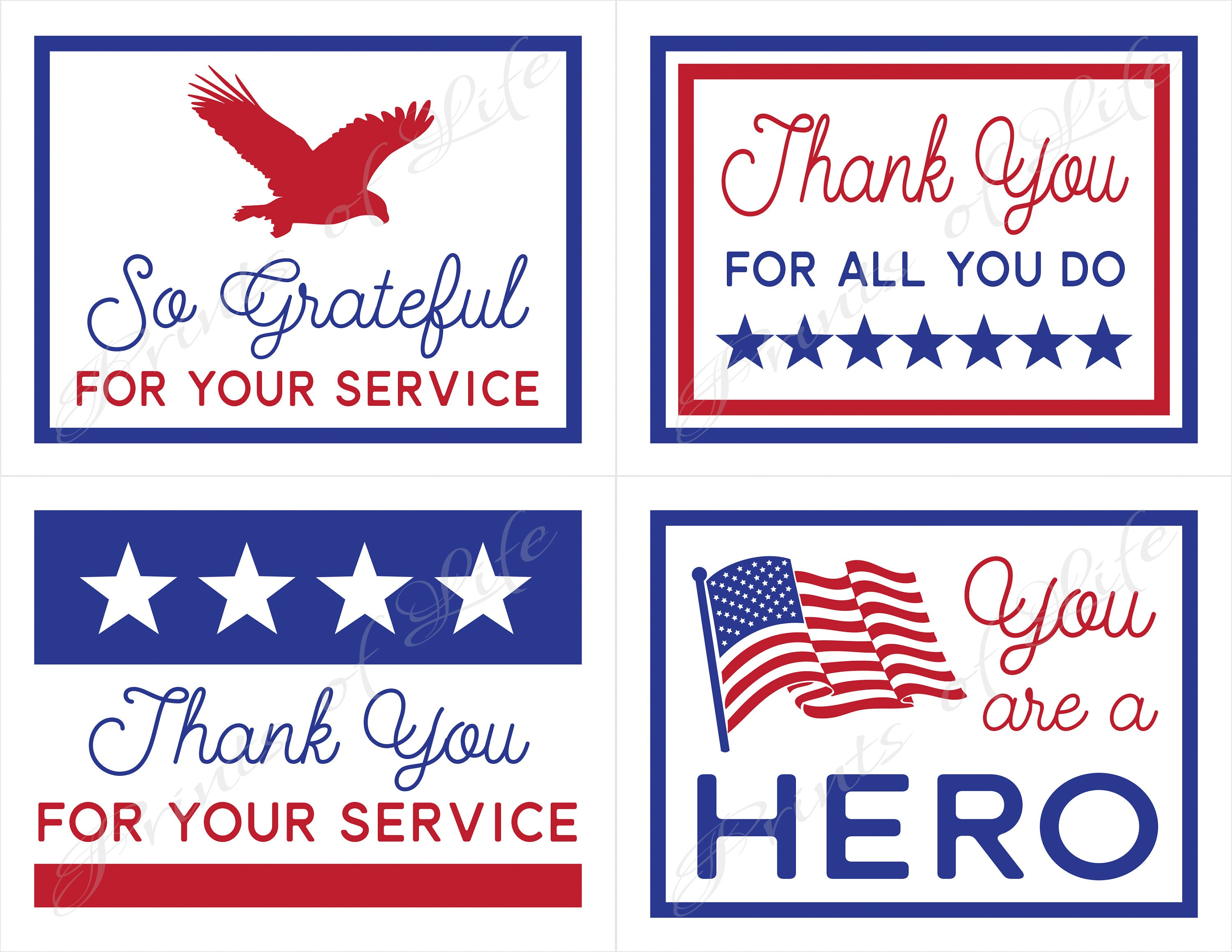 It is a photo of Declarative Military Thank You Cards Free Printable