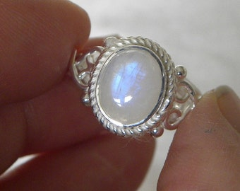 Moonstone Ring Handmade Ring Blue 10x8mm Natural Gemstone Ring Sterling Silver Ring Size 4 1/2 to 6.5 Take 20% Off Rainbow Moonstone Jewelry