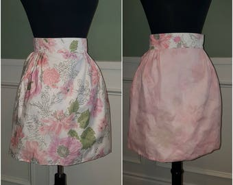 Vintage 50s Pink and Floral Reversible Half Apron