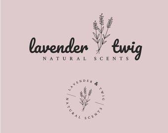 Feminine Premade Logo   Lavender & Twig   Round Watermark   Beauty Boutique Branding   Instant Download   Editable Template