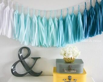 AQUA OMBRE tassel garland party decoration