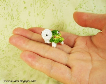 Green Flowery Turtle -  Tiny Crochet Miniature Tortoise - Made To Order