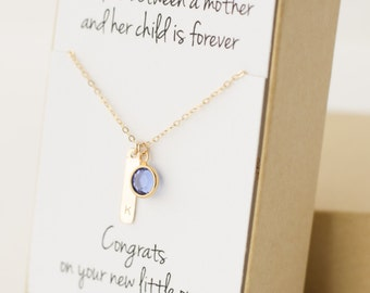 Gift for New Mom - New Mom Gift - New Mom Jewelry Necklace - New Mother Gift - New Mommy Gifts - Push Present - Birthstone Letter Necklace