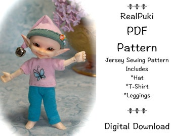 PDF Jersey Sewing Pattern for mini BJD Fairyland Real Puki Ver. 1