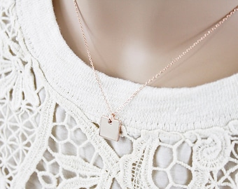 Simple and Modern Square Charm Necklace . Bridesmaid Gift Bridesmaid Necklace Birthday Gift