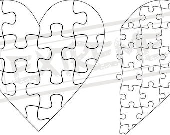 Heart Jigsaw Puzzle Template Collection DXF, EPS, SVG Zip File