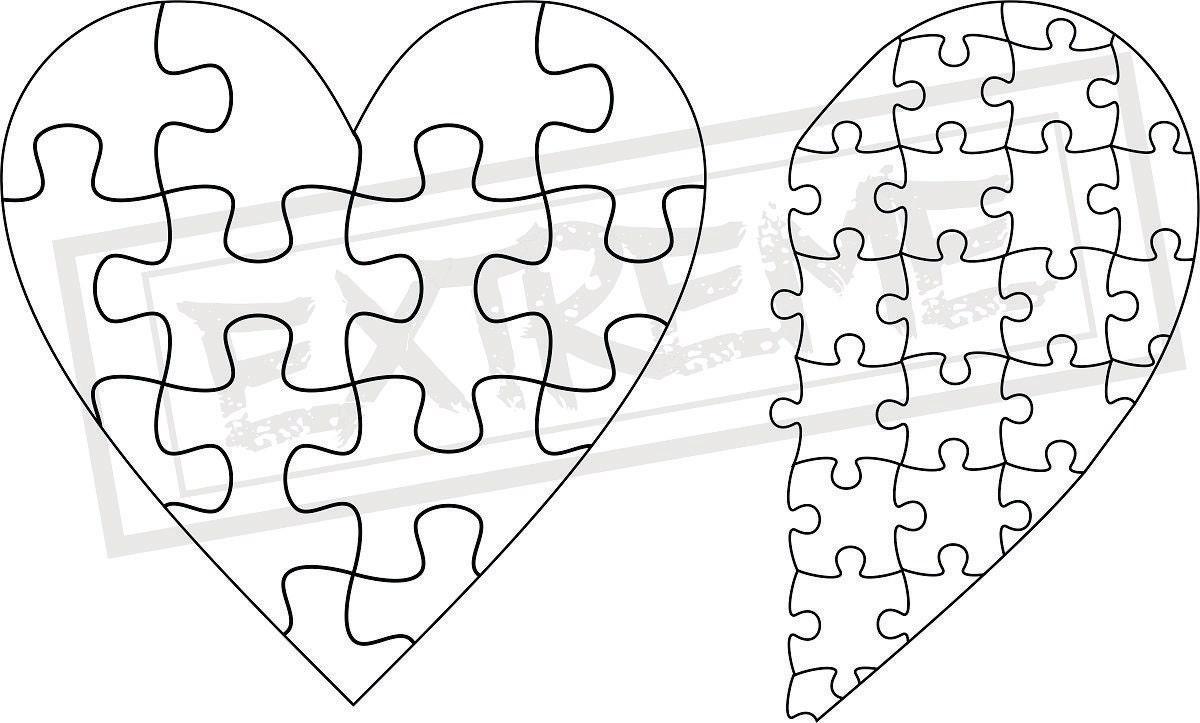 Herz Puzzle Puzzle Vorlage Sammlung DXF EPS SVG Zip-Datei