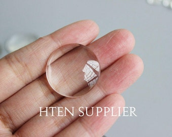 20mm Round Clear Glass Cabochons ,20mm Magnify Glass Dome, 20mm Flat Back transparent Glass Covers,Ultra-transparent Top quality