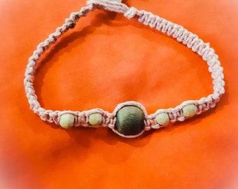 Macrame Beaded Bracelet Pink 100% Hemp
