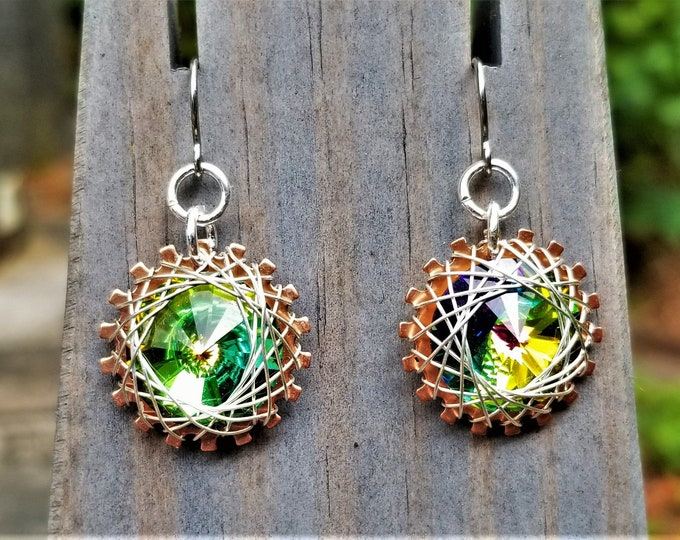 Spirograph Inspired Rainbow Swarovski Crystal Pendant in Copper Setting with Sterling Silver Wire Earrings