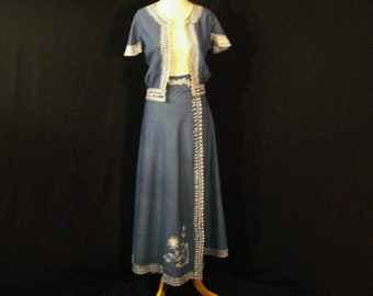 Boho Hippie Blue & White Embroidered Wrap Skirt Cropped Top S/M