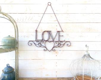 "Iron ""Love"" Sign, Home Decor, For The Home, Wedding Decor, Customize"