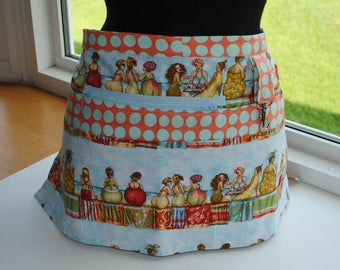Handmade Vendor Apron Fruit Ladies Blue  Utility Craft Farmers Market Teacher