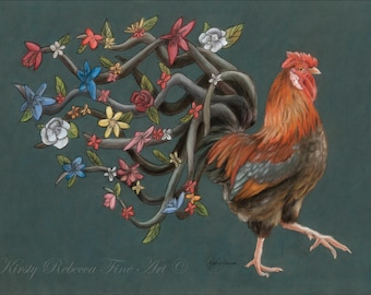 "Original 30cm x 40cm Pastel Painting of Rooster ""Dignified"""
