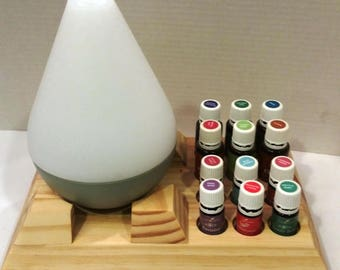 Essential Oil Stand and Diffuser Display for Starter Kits-  Holds BOTH Young Living and doTerra Bottles & Diffusers