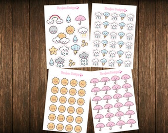 Teensy Weensy Set of 4 Weather Themed Planner Stickers - Erin Condren Planner Stickers - Happy Planner - Plum Paper - Functional Stickers