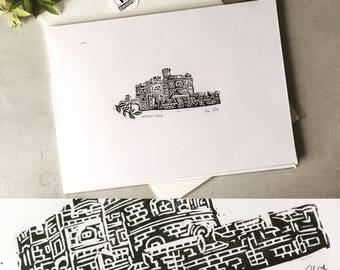 Pendennis Castle Falmouth, Linocut, Hand Printed, Linoprint,