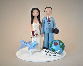 Flight Attendant Wedding Cake Topper