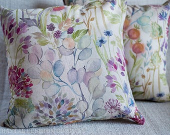 """Linen Hedgerow Contemporary Country Cushion Cover. Multi-coloured watercolour painted style design. 17"""" x 17"""" Square, linen and cotton."""