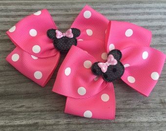 Pink Minnie Mouse Bows / Minnie Mouse Piggy Tails Bows / Disney World Bows / Disney Bows / Set of 2