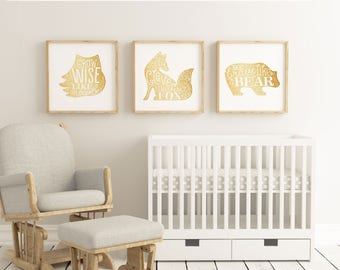 Wild animals - gold - grow wise like an owl, stay clever like a fox, be brave like a bear - Children playroom printable - fox - owl - bear