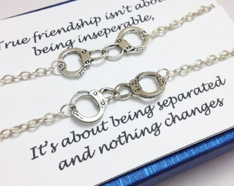 Set of 2 partner in crime bracelet - bff bracelet - friendship bracelet - silver handcuff bracelet - girlfriend - gift for her - birthday