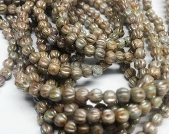 Luster Opaque Green - 3mm Melon Beads, P65431 100 beads