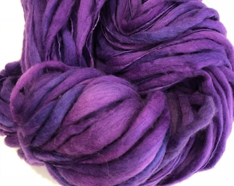 Handspun Thick n Thin art yarn. Merino wool. Hand dyed. Super soft. 5.3oz 120 yards