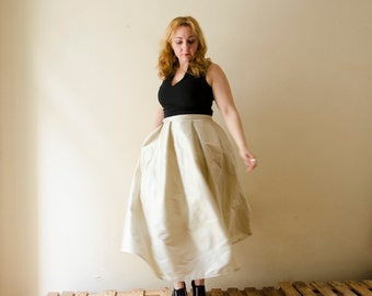 Beige Maxi Full Skirt, Silk Taffeta Wedding Bridesmaids Skirt with Pockets, Prom Cocktail Skirt, Customize color and length, Plus sizes
