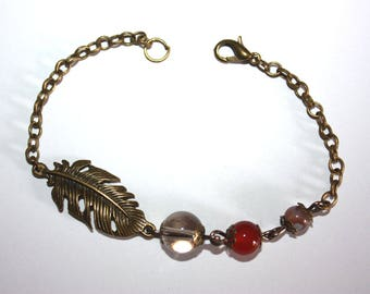 Bracelet feather agate sandonyx, red agate and smoky quartz