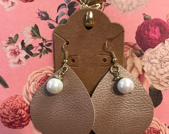 Small Faux Leather Earrings