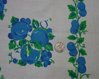 "Vintage Full Feedsack Novelty Large 37 x 44"" Bright Blue Fruit Print, Charming"