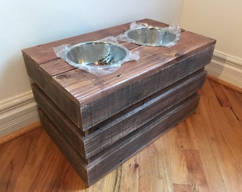 """Rustic reclaimed crate dog bowl stand 24""""l x 14""""w x 13""""t 2qt bowls included cherry finish"""