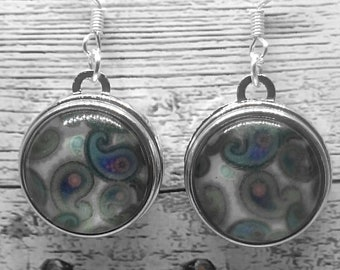 Grey and Blue Paisley Glass Cabochon Earrings with 925 Sterling Silver Wire Hooks