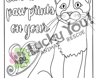 Cat Coloring Page, Printable Coloring Book Pages, Animal Rescue Charity, Pets, Gifts for Her, Meow, Kitty, Fundraiser, Furbabies, Cat Lady