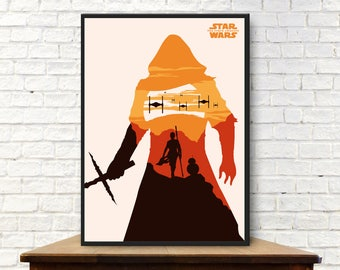 Episode VII The Force Awakens Poster Minimalist The Force Awakens Print The Force Awakens Wall Art The Force Awakens Gift