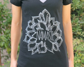 Namaste Flower Shirt - VNECK - Yoga Tshirt - Yoga Tops - Yoga Clothes - Yoga Shirt - Women's Yoga Clothes - Namaste Shirt - Namaste