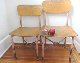 "Vintage Wood School Chair Metal,  Size 14"", LARGE QUANTITY"